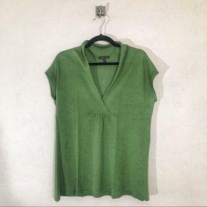 Eileen Fisher Cross Over V-Neck Green Sweater Top